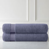 Cotton Towel Set_Two Over-Sized Bath Sheets_Steel_Blue