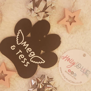 Black Frosted Paw Print Hanging Decoration - Personalised