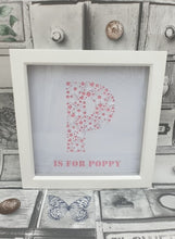 23x23cm White Personalised letter frame hearts & butterflies