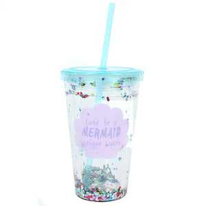 Can't Be A Mermaid...Sequin Drinking Cup