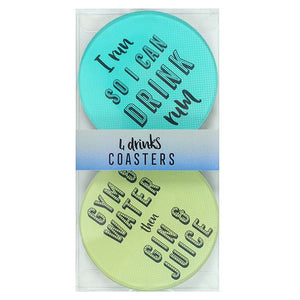 Slogan glass coasters