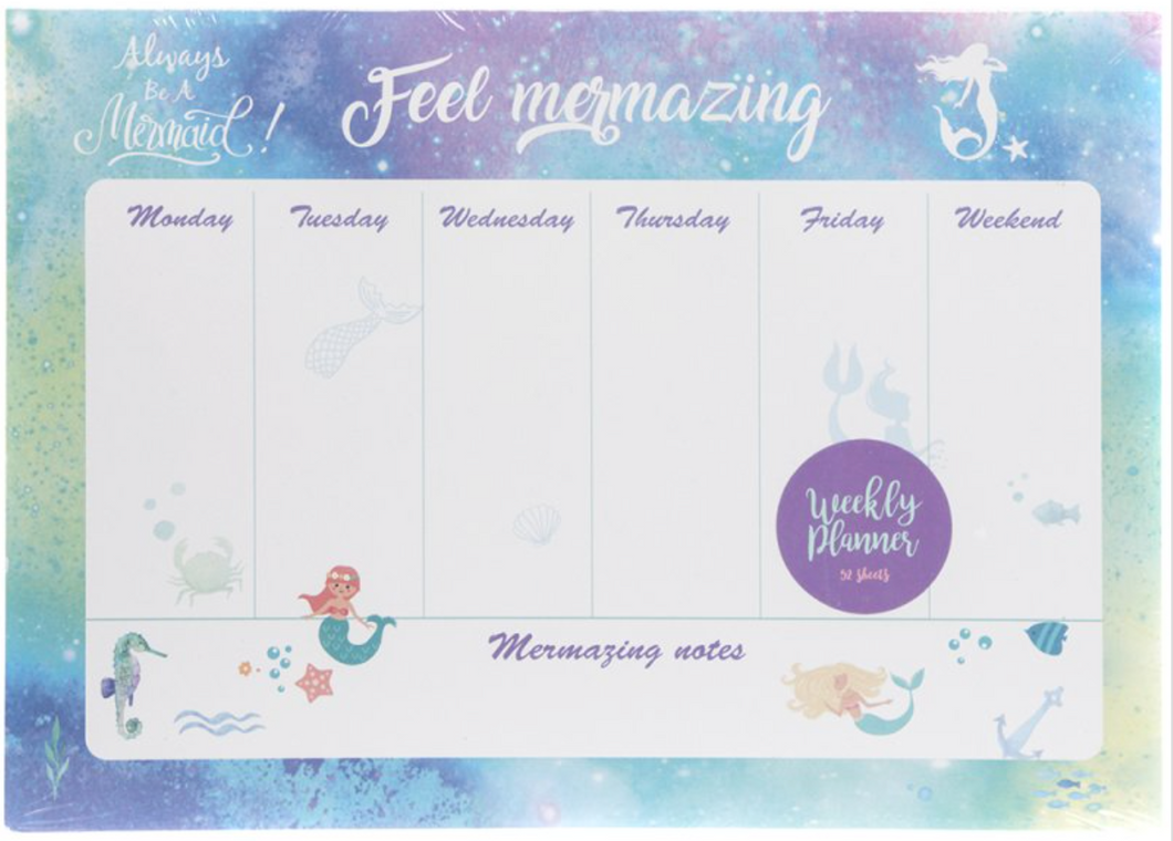 Mermaid weekly desk planner A4