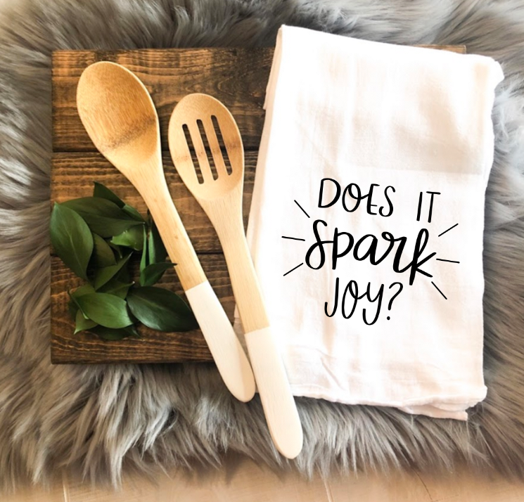 Does it Spark Joy Tea towel