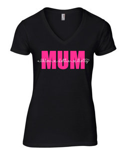 Mum Personalised V neck Black T shirt