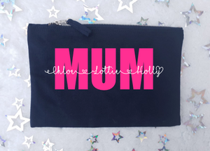 Mum Personalised Zip Bag - Black
