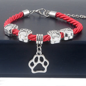 Red Rope Paw Charm Bracelet