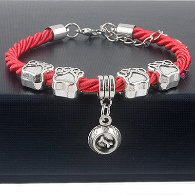 Red Rope Circle Charm Bracelet