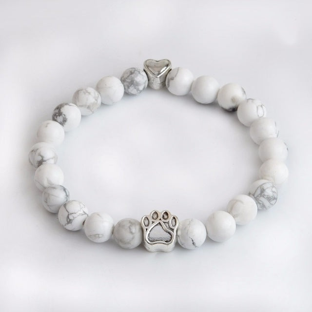 white stone resin bracelet with paws