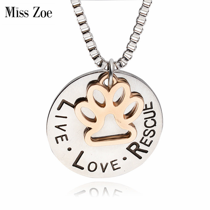 LIVE LOVE RESCUE pendant chain link silver necklace with gold paw in center