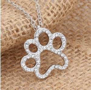 Paw Necklace Black White Crystal Rhinestone Pendant