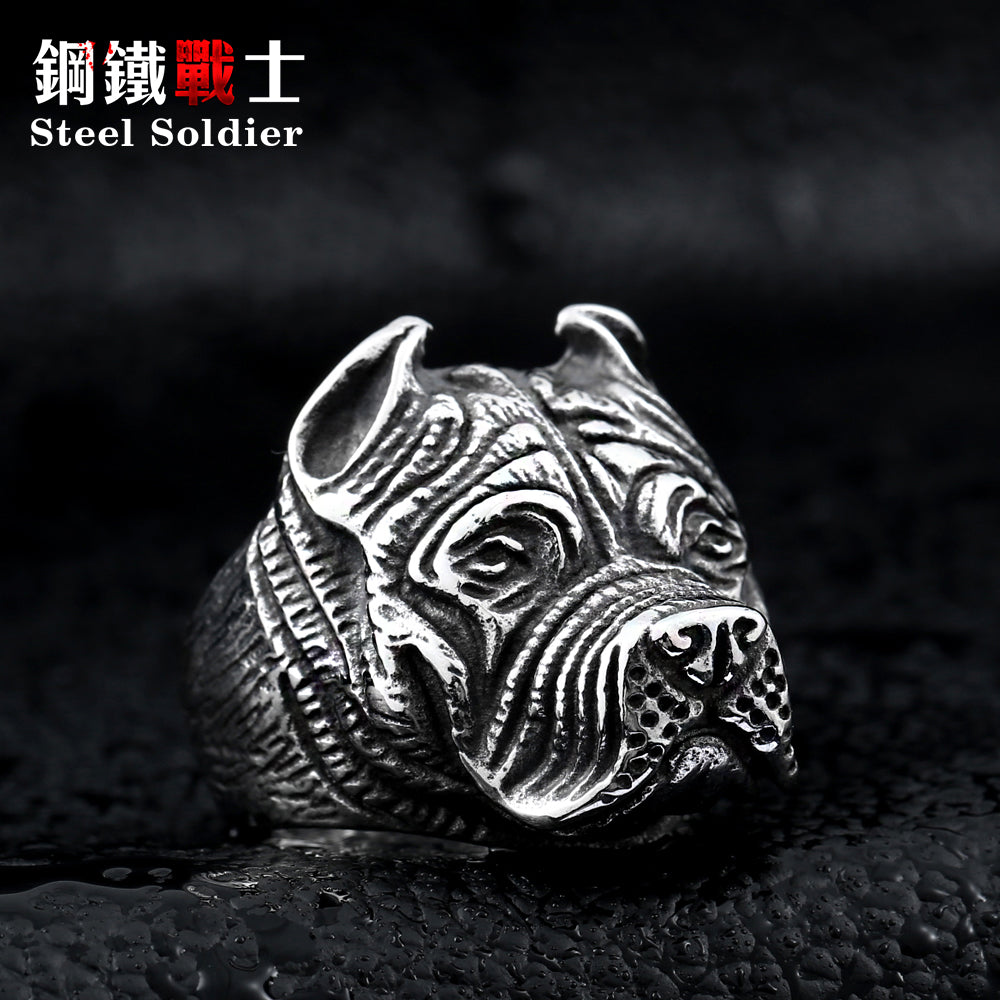 Men's Silver Pitbull Titanium Ring