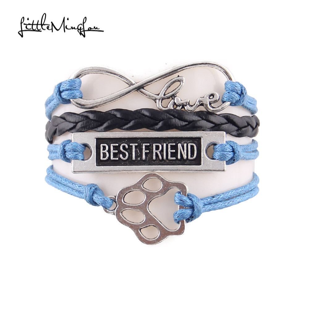 blue leather rope best friend paw bracelet with infinity symbol
