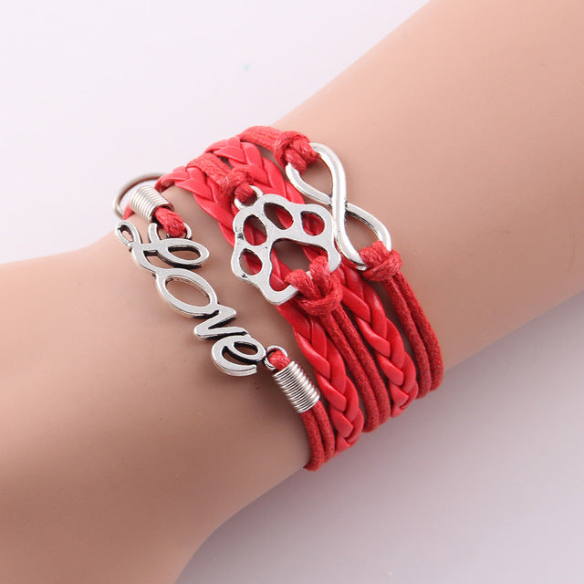 red leather rope love paw bracelet with infinity symbol