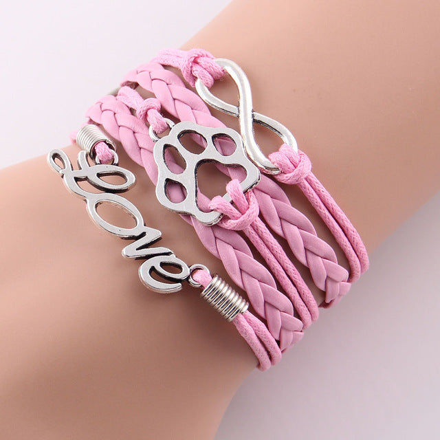 pink leather rope love paw  bracelet with infinity symbol