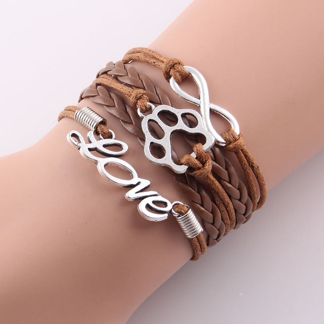 brown leather rope love paw  bracelet with infinity symbol