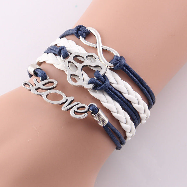black and white leather rope love paw bracelet with infinity symbol