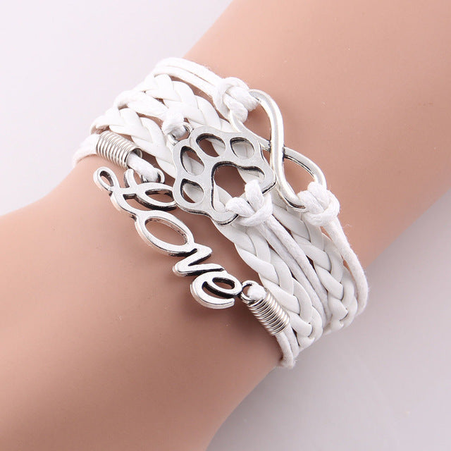 white leather rope love paw bracelet with infinity symbol