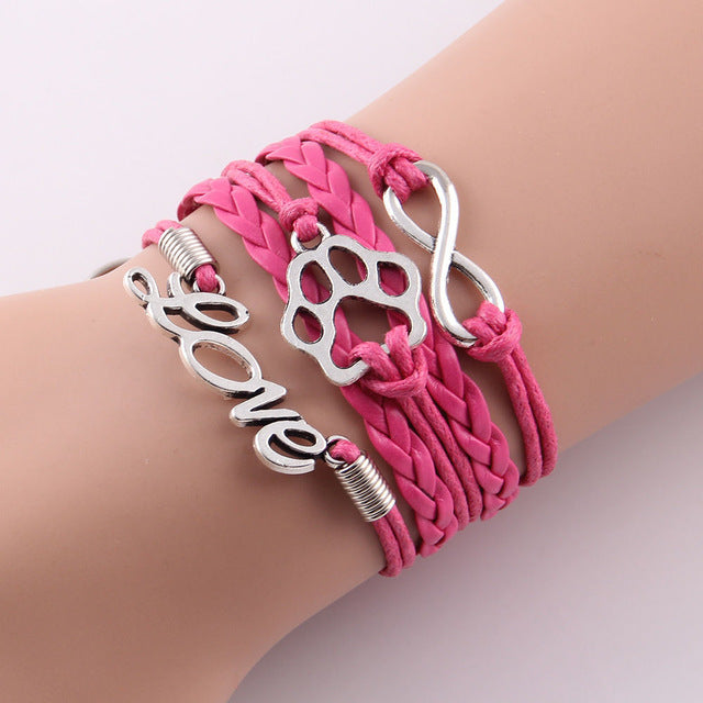 dark pink leather rope love paw bracelet with infinity symbol