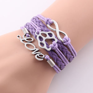 purple leather rope love paw bracelet with infinity symbol