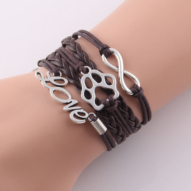 dark brown leather rope best friend paw bracelet with infinity symbol