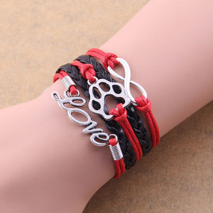 black and red leather rope love paw bracelet with infinity symbol