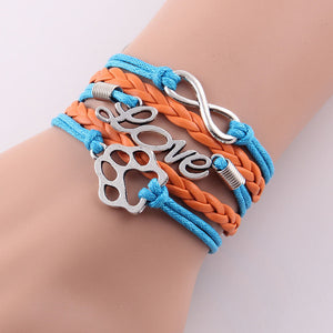blue and orange leather rope love paw bracelet with infinity symbol