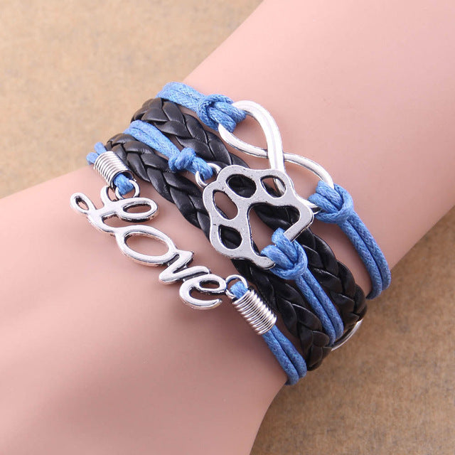 black and blue leather rope love paw bracelet with infinity symbol