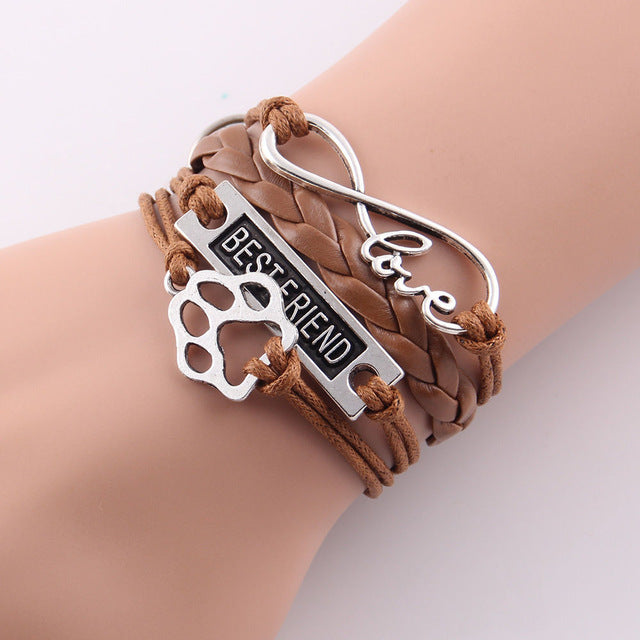 brown leather rope best friend paw bracelet with infinity symbol