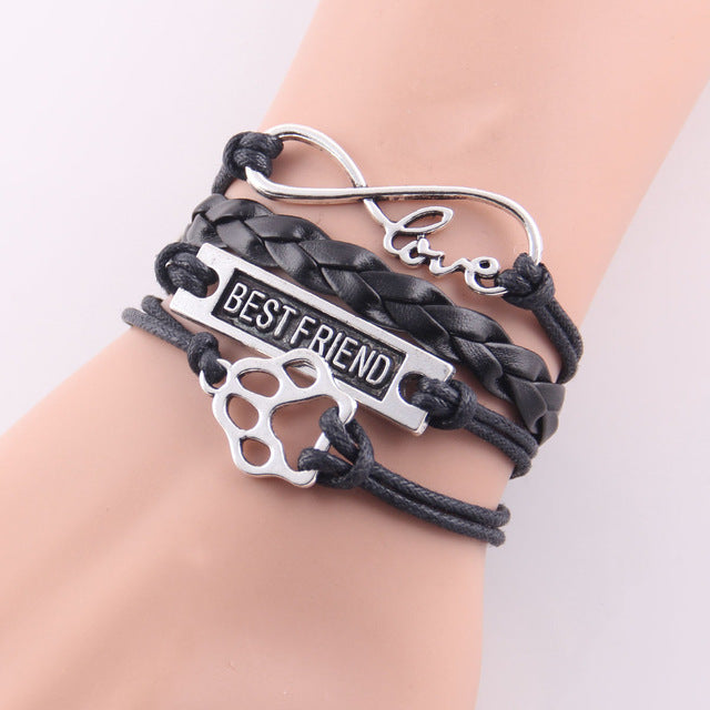 black leather rope best friend paw bracelet with infinity symbol