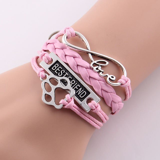 pink leather rope best friend paw bracelet with infinity symbol
