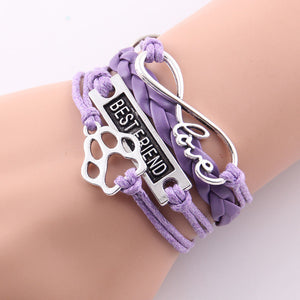 purple leather rope best friend paw bracelet with infinity symbol