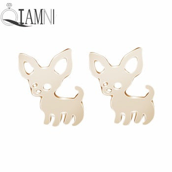 Gold color metal chihuahua stud earrings