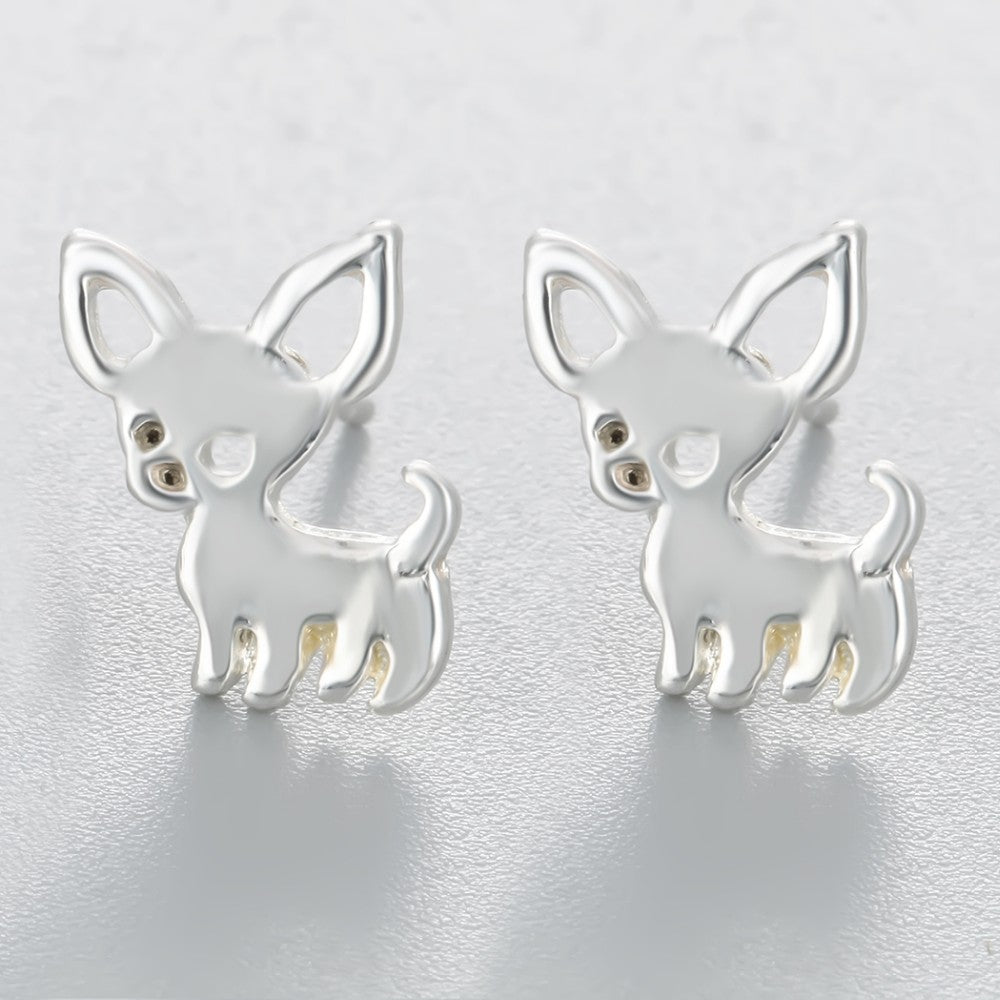 Silver color metal chihuahua stud earrings