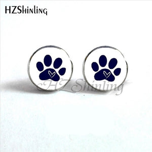 dark blue paws on white background of paws round earrings