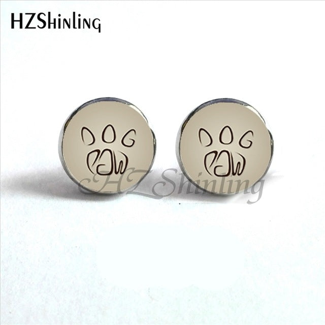 Silver color paw round stud earrings