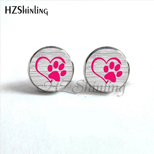 pink paw on silver background of paws round earrings