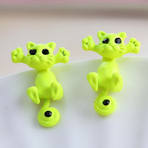 green kitty earrings
