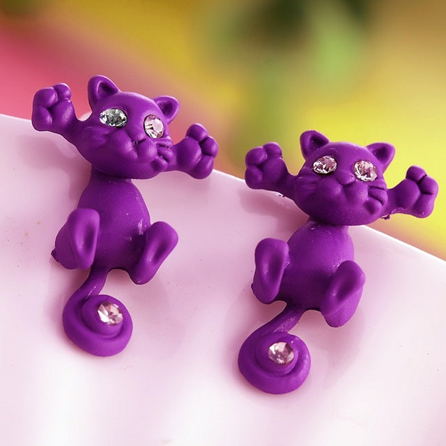purple kitty earrings