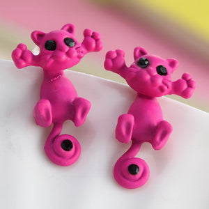 dark pink kitty earrings