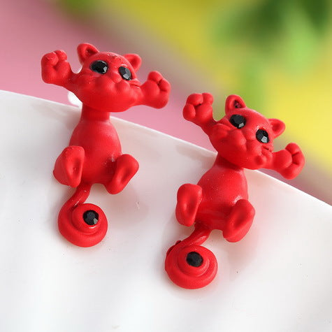 red kitty earrings