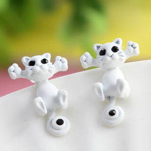 white kitty earrings