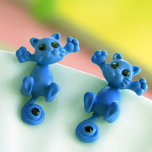 blue kitty earrings