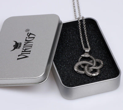 Men's Silver Viking Snake Chain Necklace In Box
