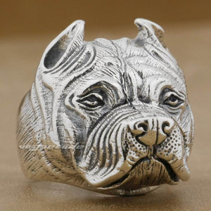 Pitbull 925 Sterling Silver Mens Ring US Size 7 to 15
