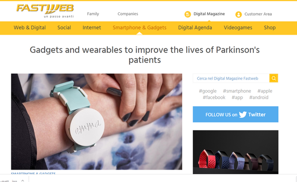 Fastweb , Gadgets and wearable to improve the life of Parkinson' patients