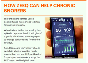 Daily Mail , The $299 smart pillow that could give you (and your partner) a better night' sleep: ZEEQ can stop snoring, wake you gently and track sleep patterns