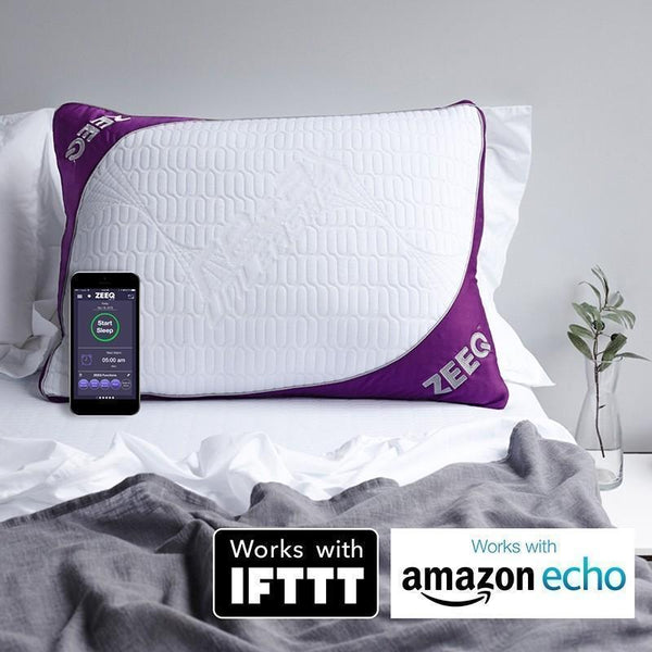 ZEEQ Smart Pillow and App in bed
