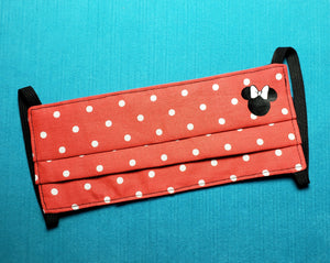 Minnie Polka Dots Reusable Fabric Face Mask - 3 layer with filter - Handmade - Reversible