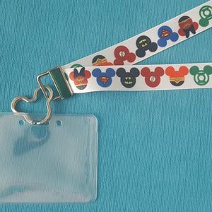 Disney Lanyard - for KTTW Card - Superhero Mickey Heads - Non-scratchy - Child or Adult