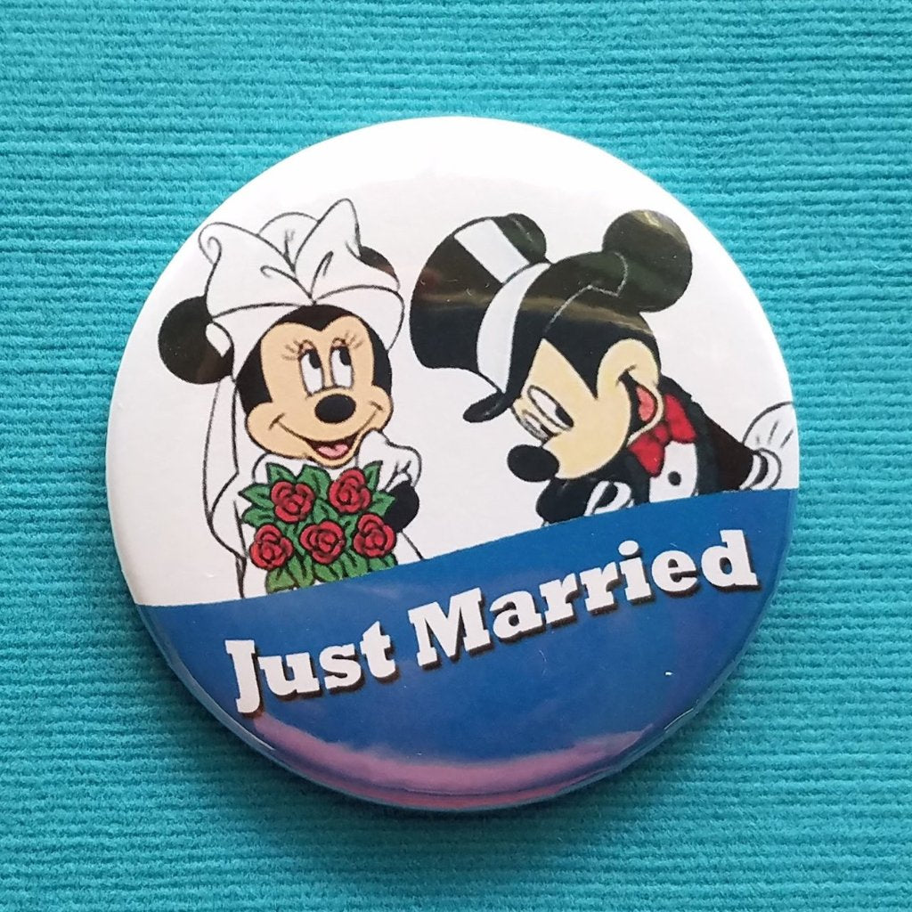 Just Married Button - Disney Cruise - Disney World - Disneyland - Celebration Button - Celebration Pin - Door Magnet - Mickey & Minnie